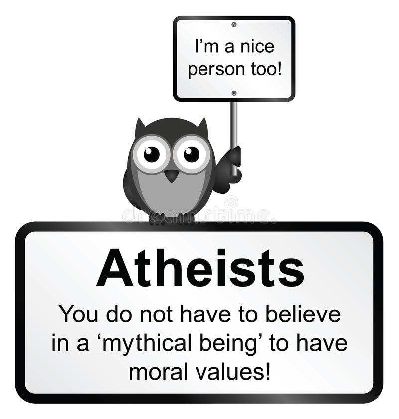 Atheist people. Monochrome moral values sign isolated on white background stock illustration
