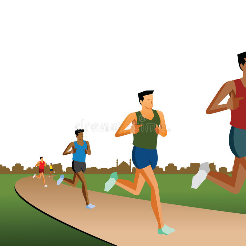 Atheletes running on a track, race, white backgrou. Nd vector illustration