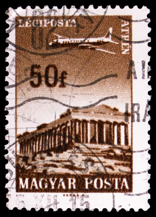 Athen, Airpost, planieren über die Städte, die durch ungarisches Fluglinien serie, circa 1966 gedient werden lizenzfreie stockfotos