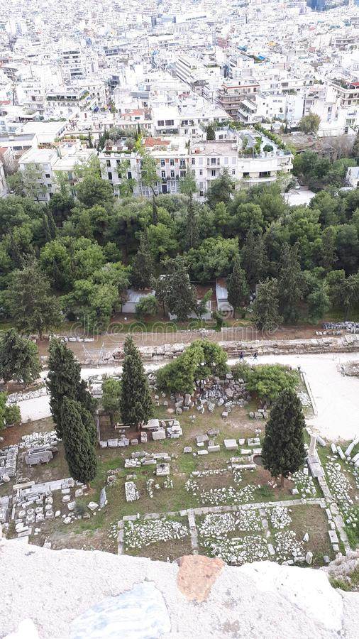 Athen, alt gegen neues stockbild