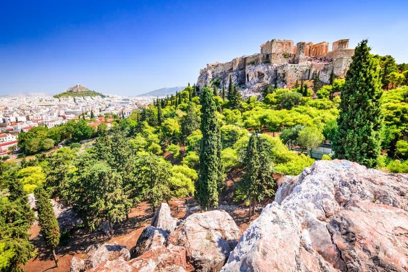 Athen, Griechenland, Akropolis und Erechtheions-Tempel stockbild