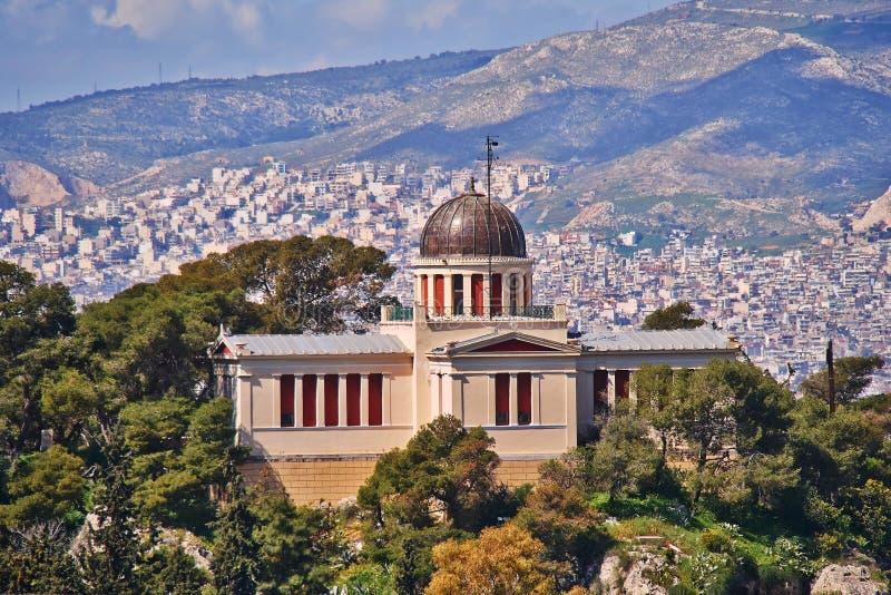 Athen Griechenland, das neoklassische Gebäude des alten nationalen Observatoriums stockbilder