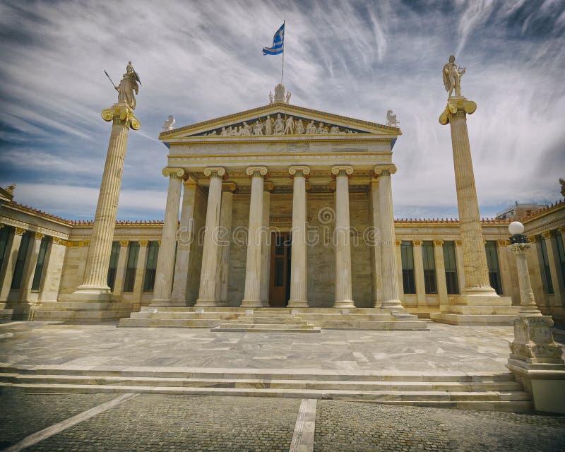 Athen Griechenland, die nationale Akademie mit Athene- und Apollo-Statuen stockfotografie