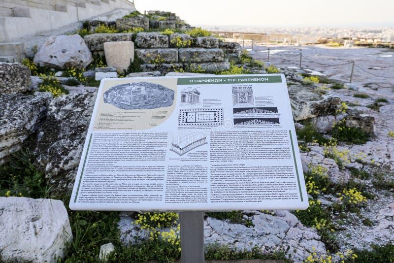 Athen, Griechenland - 14. März 2017: Das Informationsbrett vor dem Parthenontempel auf der Akropolise von Athen, Griechenland stockbilder