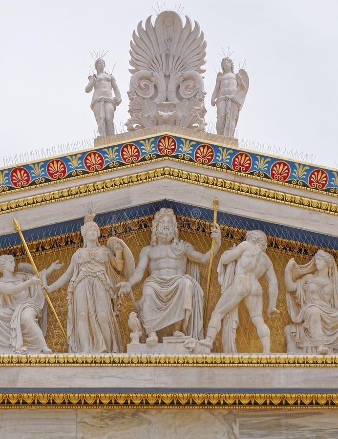 Athen Griechenland, Zeus, Athene und andere altgriechische Götter und Gottheiten lizenzfreie stockfotografie