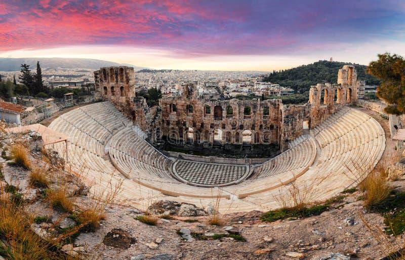 Athen - Ruinen des alten Theaters von Herodions-Atticus in der Akropolise, Griechenland stockfoto