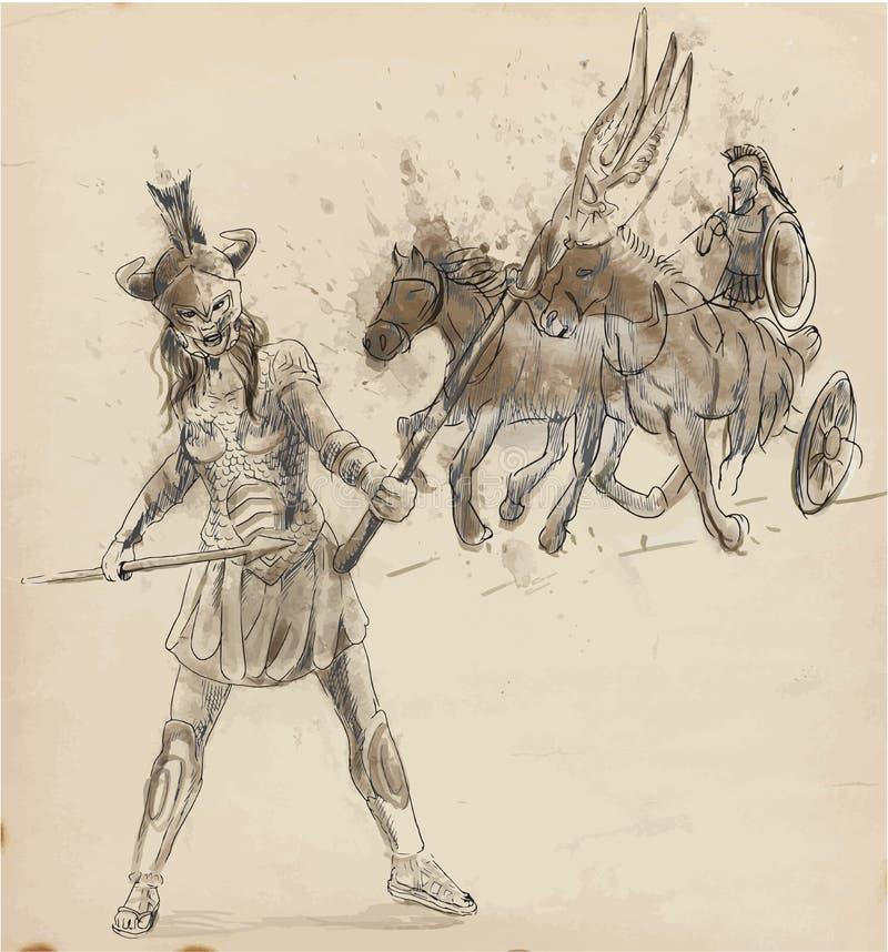Athena vektor illustrationer