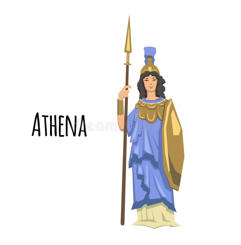 Athena, ancient Greek goddess of Wisdom, War, and Useful Arts. Mythology. Flat vector illustration. Isolated on white. Athena, ancient Greek goddess of Wisdom stock illustration