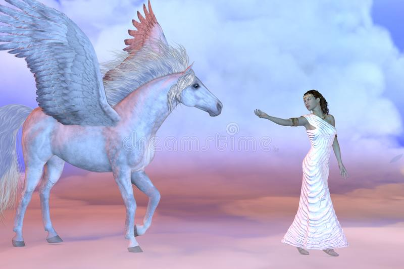 Athena Greek Goddess and Pegasus. Athena, daughter of the Greek God Zeus, beckons to the mythical Pegasus high up in the cloud layers stock illustration