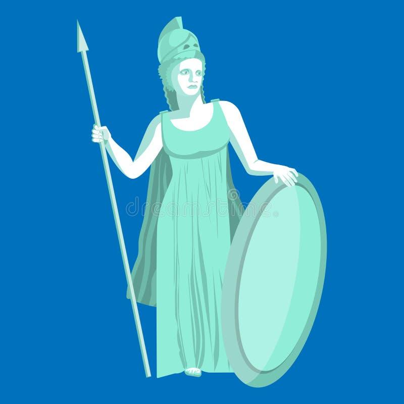 Athena eller Athenemarmorstaty på blå bakgrund Pallas gudinna stock illustrationer