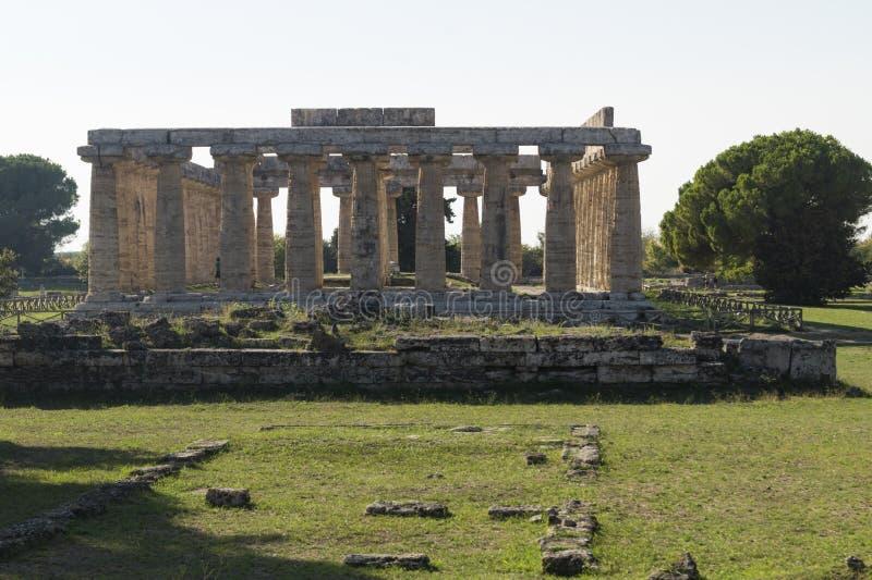 Athena Greek tempelpaestum royaltyfria foton