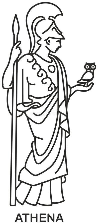 Athena Icon Svg Compatible Line Draw Stock Photo