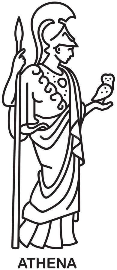 Athena, icono del vector de la diosa del griego clásico stock de ilustración