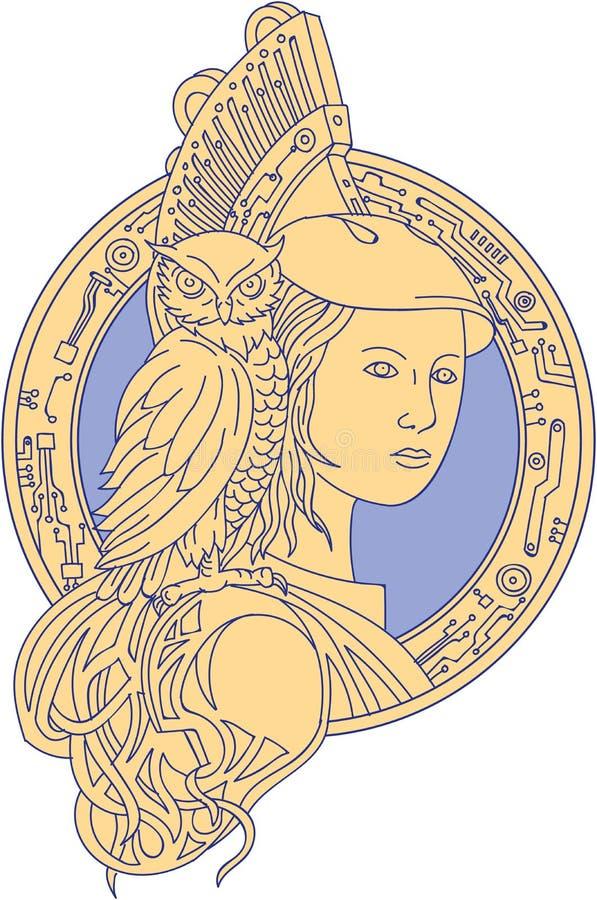 Athena med ugglan på mono linje för skuldraströmkretscirkel stock illustrationer