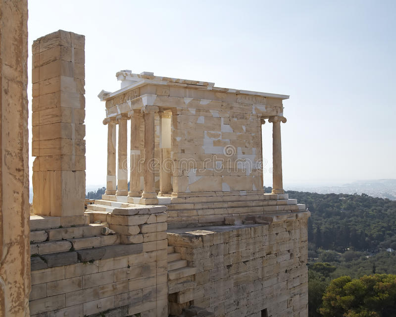 Athena (Minerva) Nike, Acropolis, Atenas imagem de stock
