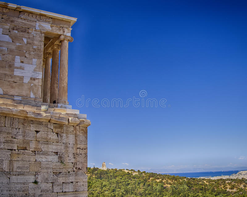 Athena Nike temple and Athens cityscape, Greece royalty free stock photo