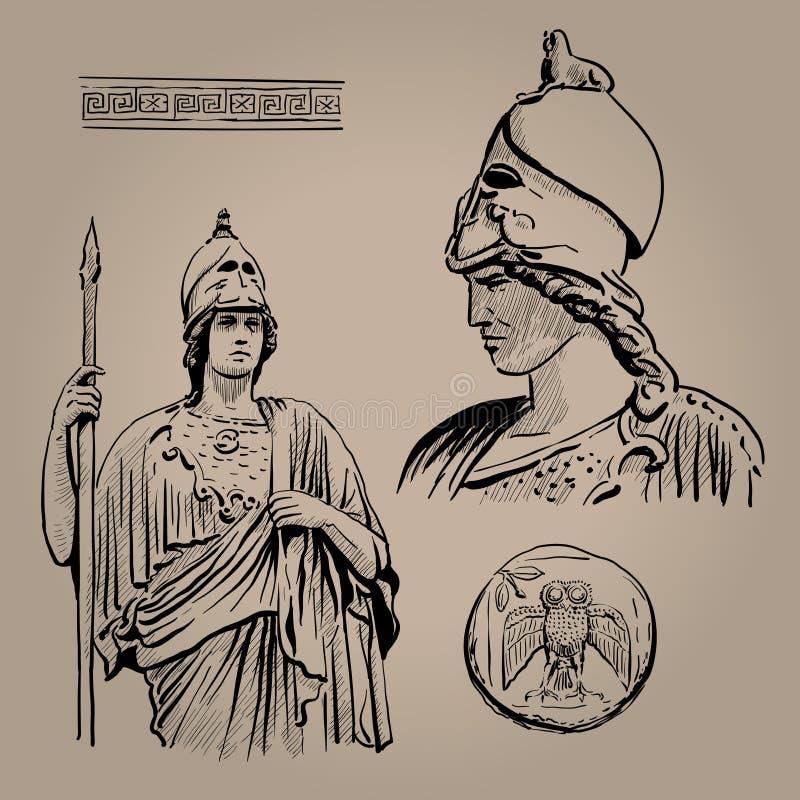 Athena Pallas Gammalgrekiskagudinna av vishet, hemslöjd och krig Digital skissar handteckningen vektor illustrationer