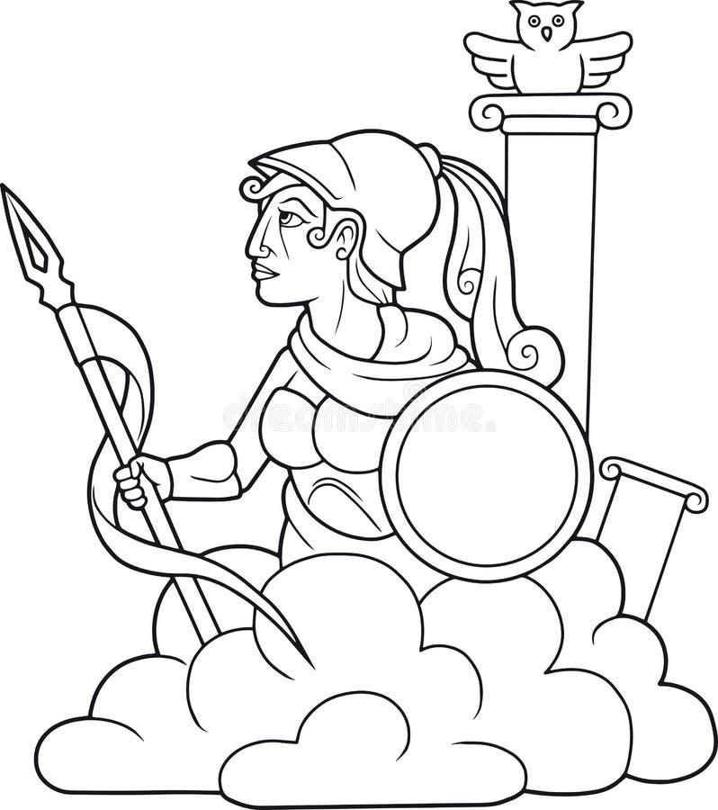 Athena som rymmer ett spjut i hans hand royaltyfri illustrationer
