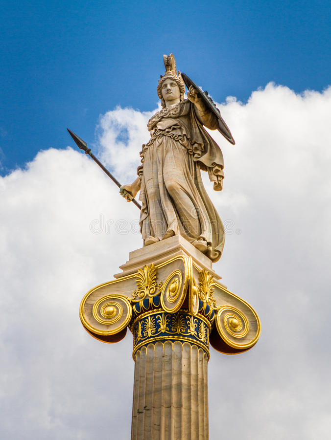Athena statue from the Academy of Athens. Greece stock images