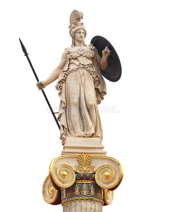 Athena statue, the ancient goddess of philosophy and wisdom. On white sky background royalty free stock images