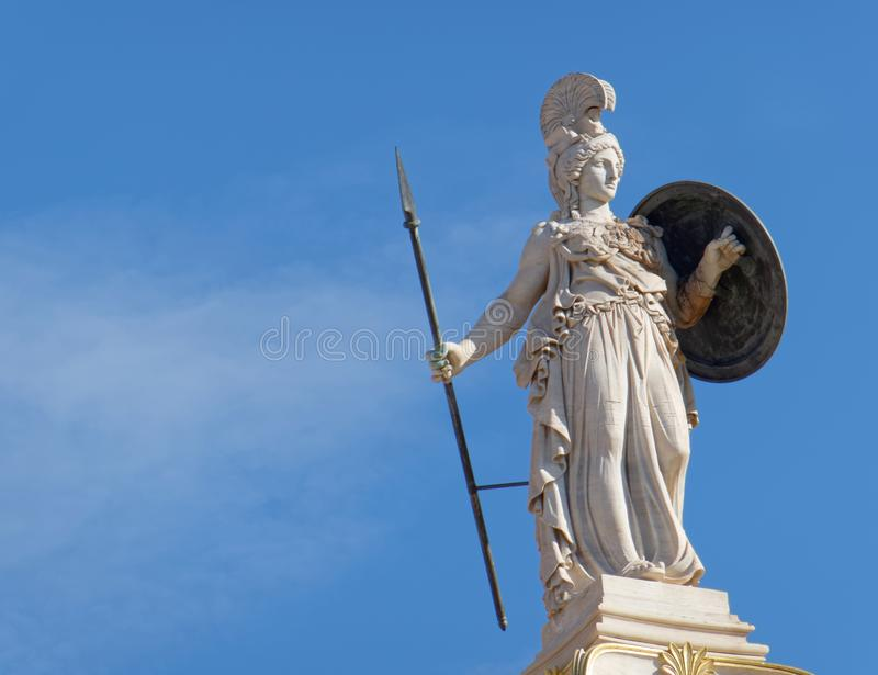 Greece, Athena statue on blue sky background stock photography
