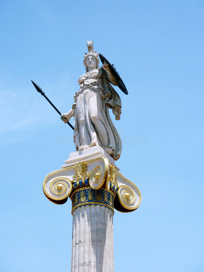 Athena statue on a column royalty free stock photography