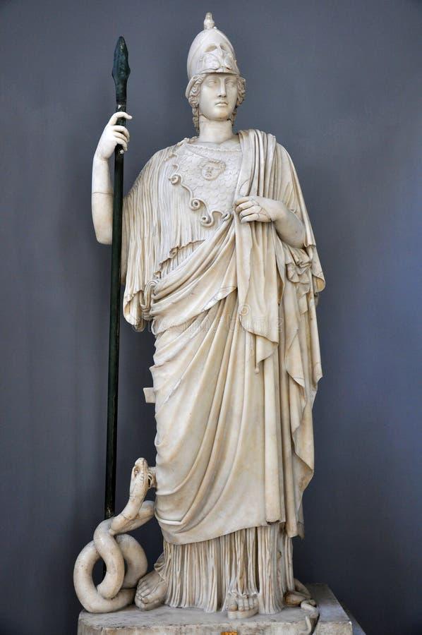 athena staty vatican royaltyfria bilder