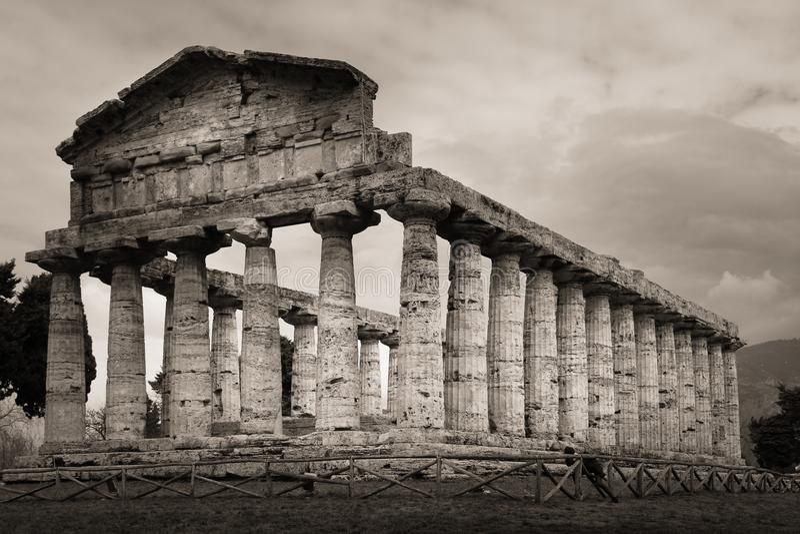 athena tempel Paestum salerno Campania italy fotografering för bildbyråer