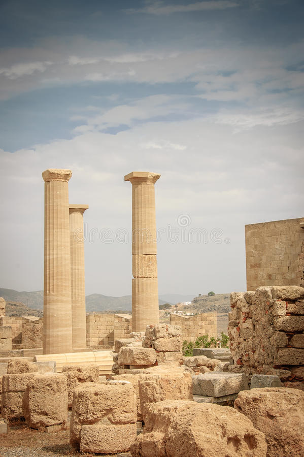 Athena temple in Acropolis of Lindos royalty free stock images