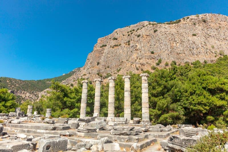 Athena Temple dans Priene, Turquie image libre de droits