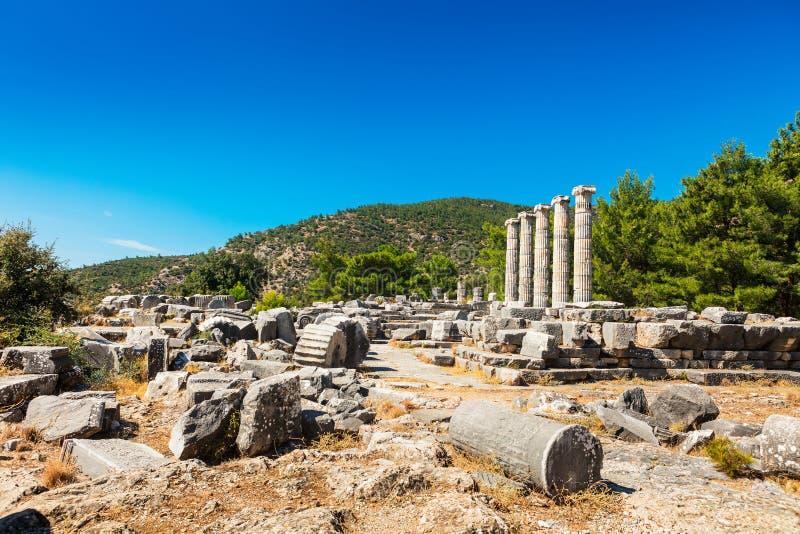 Athena Temple em Priene, Turquia imagem de stock