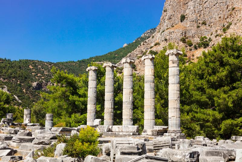 Athena Temple in Priene, die Türkei lizenzfreies stockbild