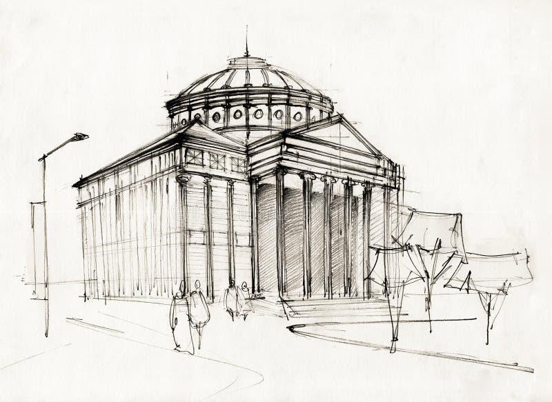 Athenaeum Nakreślenie ilustracja wektor