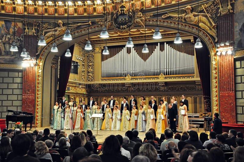 Athenaeum nazionale di Choir@Romanian dell'alloggiamento di Madrigal immagine stock libera da diritti
