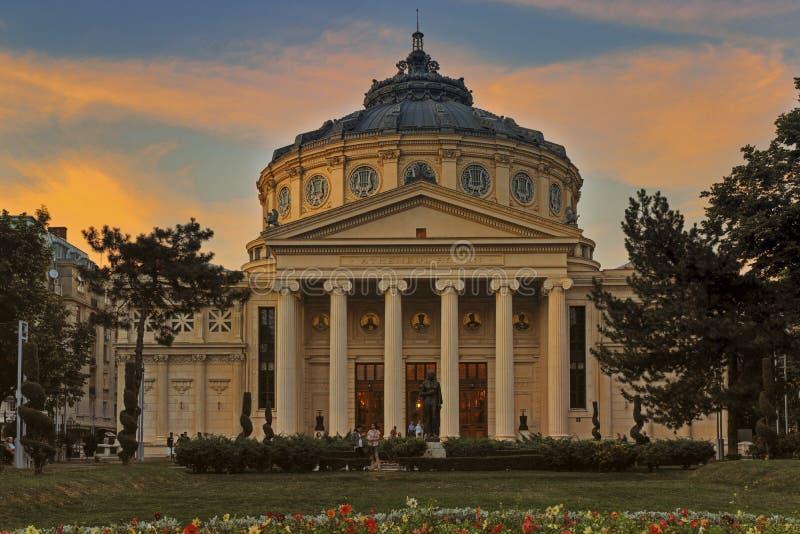 Athenaeum rumeno di Bucarest al tramonto immagine stock libera da diritti