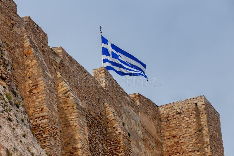 athene Греческий флаг стоковое изображение