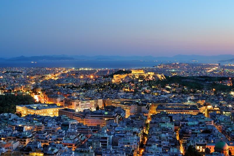 Athene bij nacht stock afbeeldingen