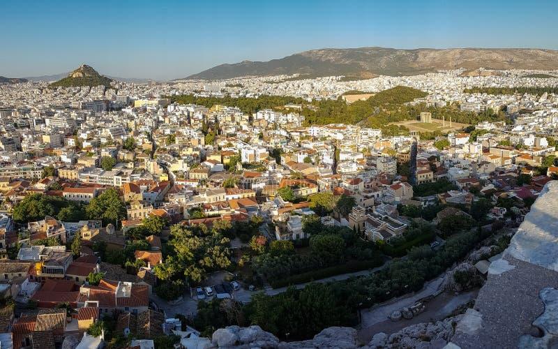 Athene, cityscape van Griekenland van Acropolis- Lycabetous h wordt bekeken dat royalty-vrije stock foto's