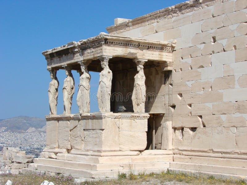 Athene, de Kariatiden royalty-vrije stock afbeelding