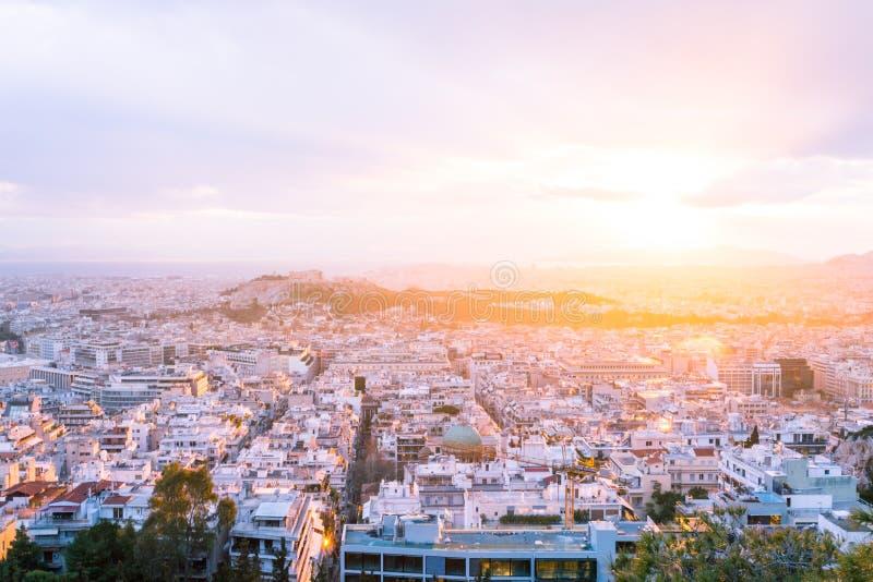 Athene, Griekenland bij Zonsondergang stock fotografie