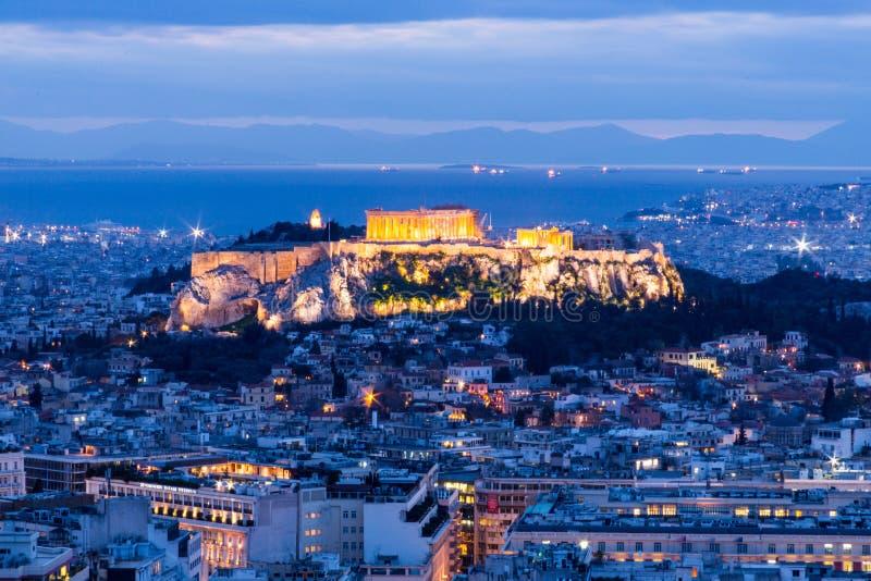 Athene, Griekenland bij Zonsondergang stock afbeelding