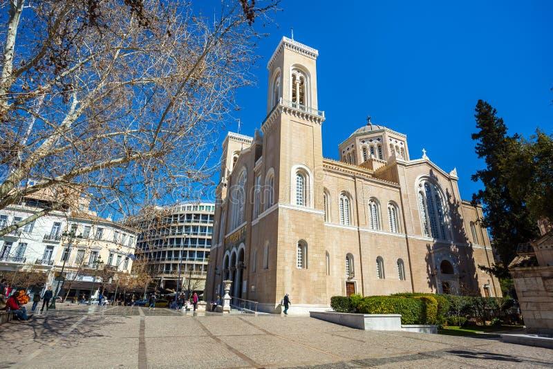 11 03 2018 Athene, Griekenland - hoofd christelijke orthodoxe Metropolitaans royalty-vrije stock fotografie