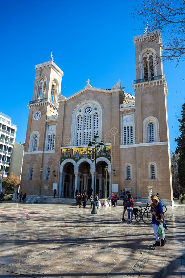 11 03 2018 Athene, Griekenland - hoofd christelijke orthodoxe Metropolitaans royalty-vrije stock foto's
