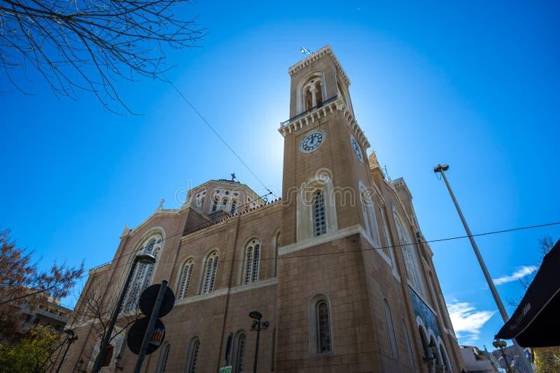 11 03 2018 Athene, Griekenland - hoofd christelijke orthodoxe Metropolitaans royalty-vrije stock foto