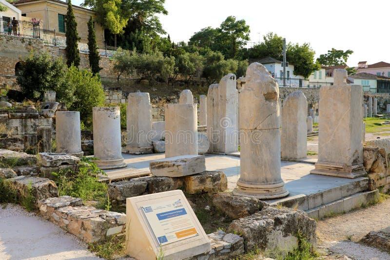 ATHENE, GRIEKENLAND - JULI 18, 2018: Blijft van Roman Agora, Athe royalty-vrije stock afbeeldingen