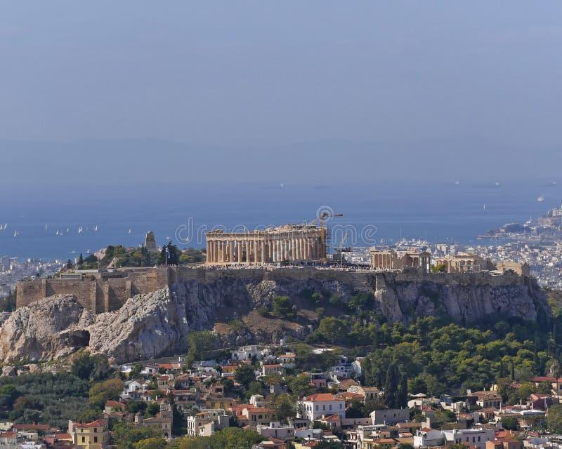 Athene Griekenland, parthenon beroemde tempel op akropolisheuvel royalty-vrije stock afbeeldingen