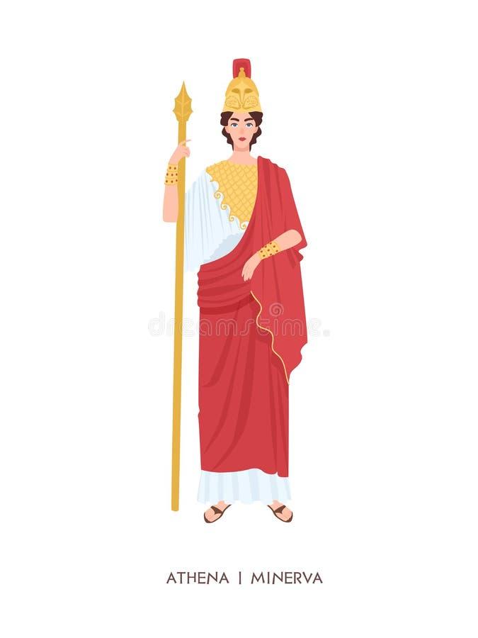 Athene oder Minerva - altgriechisch oder römische Göttin verbunden mit Klugheit, Handwerk und Kriegsführung Junge mythische Frau lizenzfreie abbildung