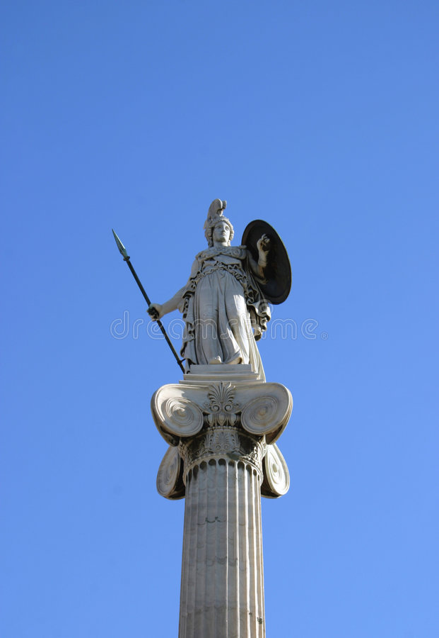 Athene op kolom royalty-vrije stock fotografie