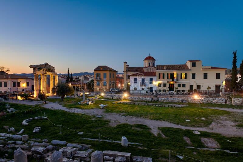 Athene Roman Agora tijdens wordt gebouwd regeert van Julius Ceasar en Caesar Augustus die royalty-vrije stock foto's
