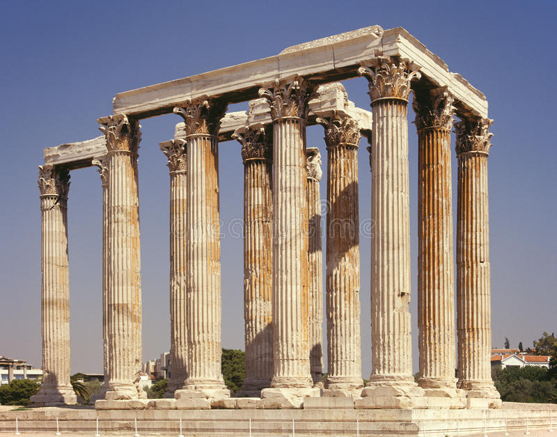 Athene - Tempel van Olympian Zeus - Griekenland royalty-vrije stock afbeeldingen
